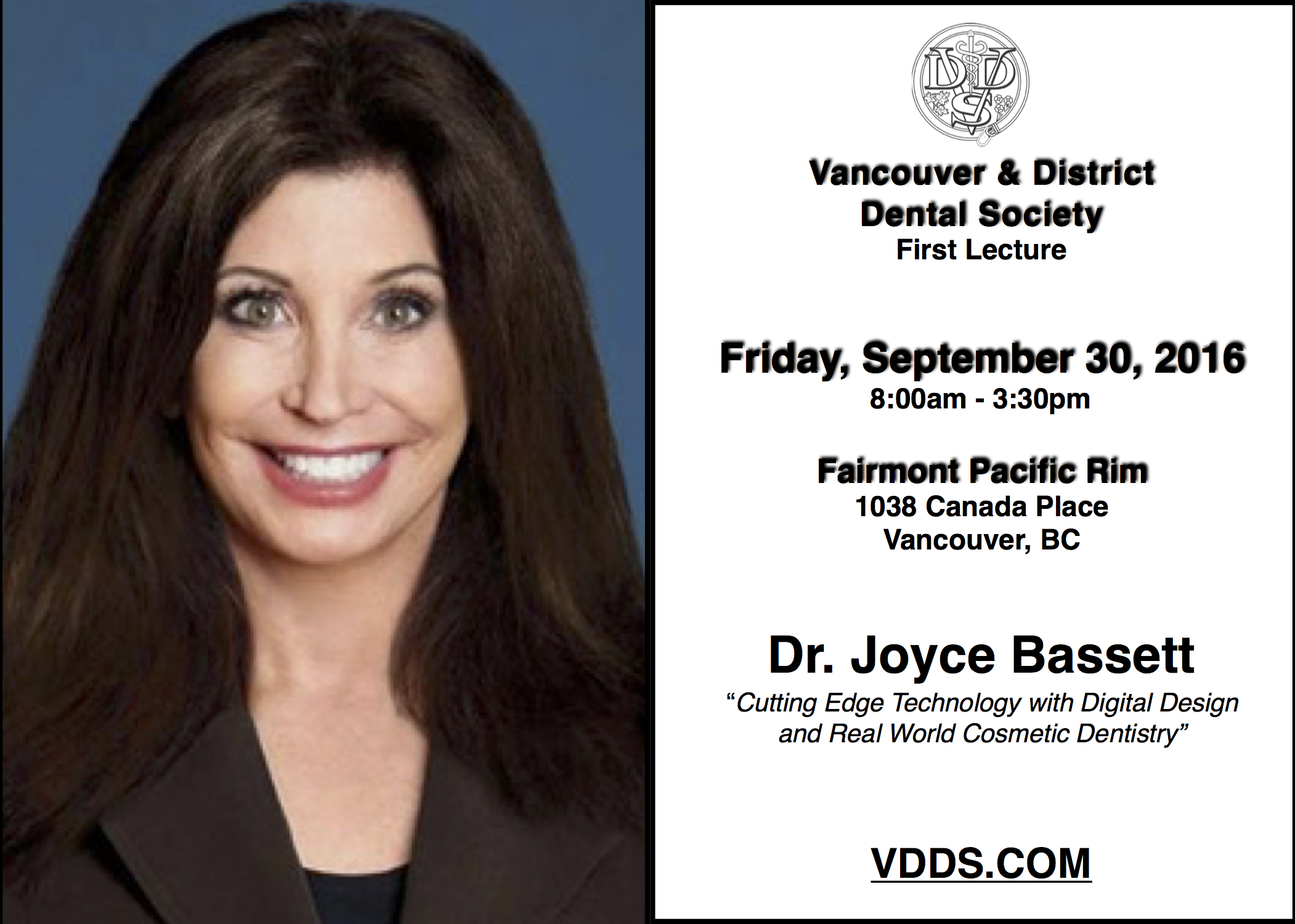 First Lecture - Friday, September 30 at the Fairmont Pacific Rim!