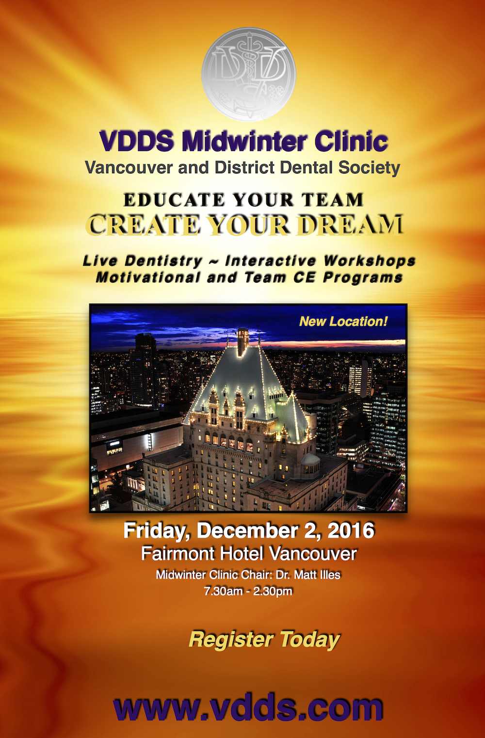 VDDS Lecture - Monday, November 7 at the Fairmont Pacific Rim!